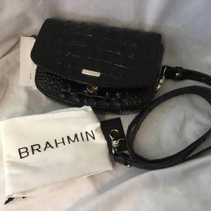 Brahmin Lil 3 Way Convertible Leather Black